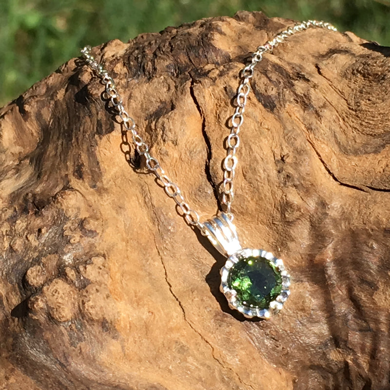 Woman's Moldavite Faceted Gem Silver Pendant Necklace