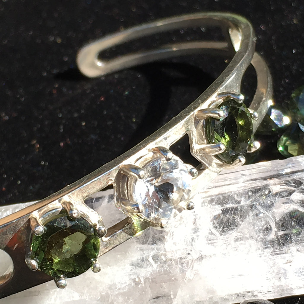 Faceted Moldavite Danburite Bracelet Sterling Silver