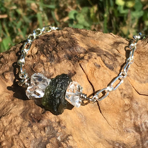 Moldavite Herkimer Diamond Sterling Silver Bead Necklace