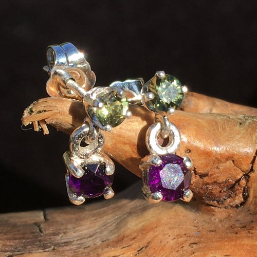 Moldavite Amethyst Sterling Silver Earrings-Moldavite Life
