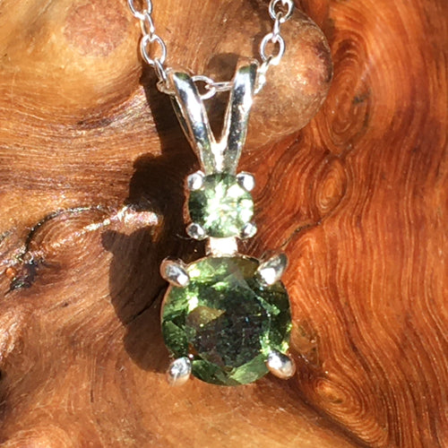 Double Faceted Moldavite Gem Pendant Sterling Silver-Moldavite Life