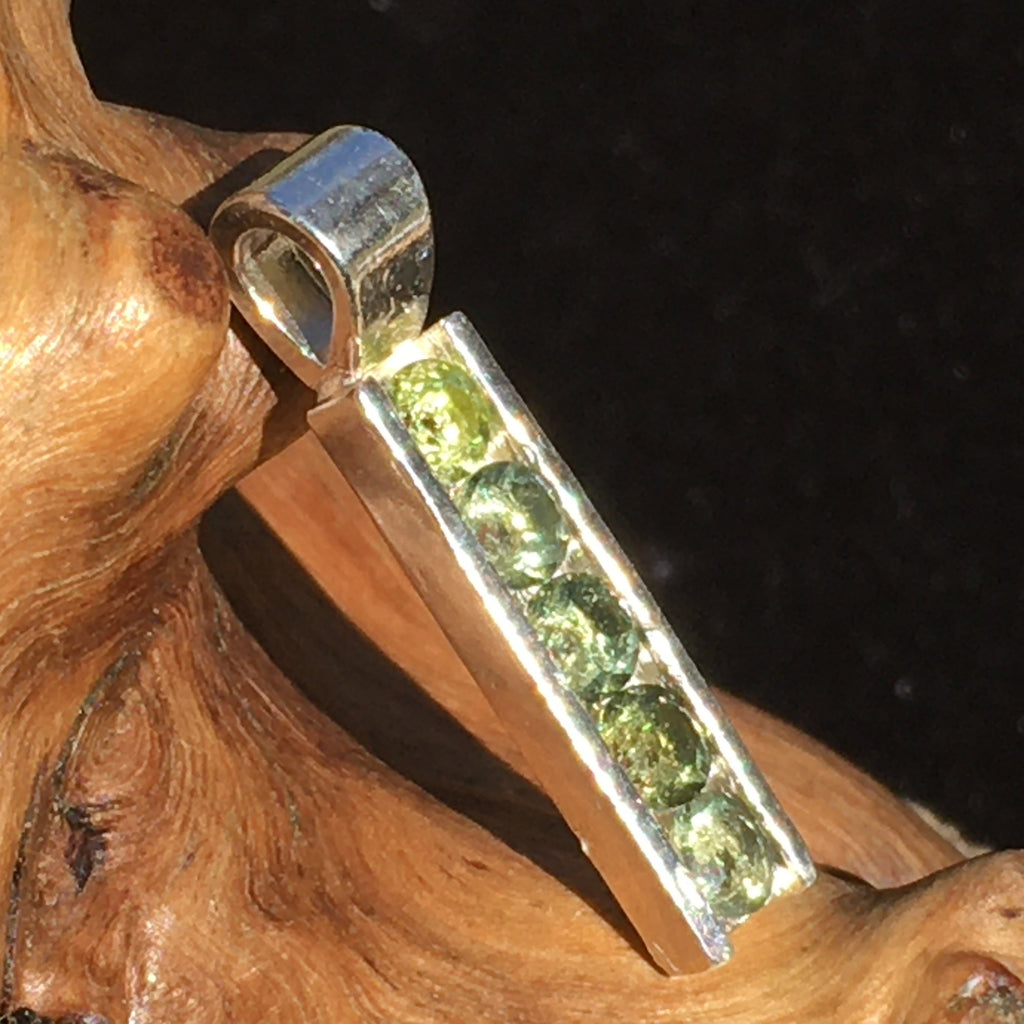Faceted 5 Moldavite Channel Pendant Sterling Silver-Moldavite Life