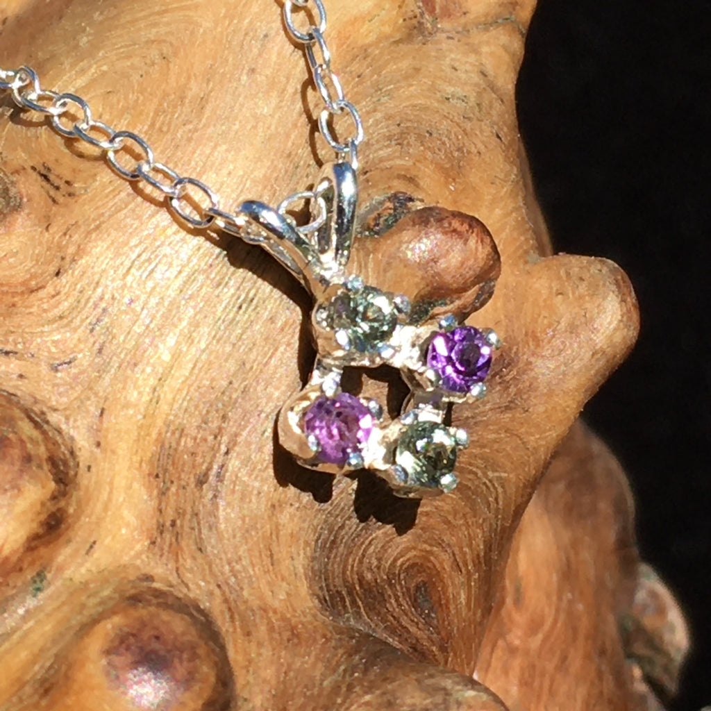 Faceted Moldavite Amethyst Silver Pendant Necklace