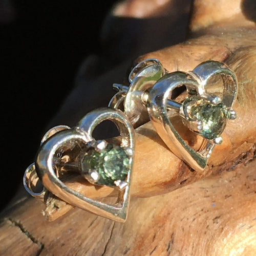 Faceted Moldavite Heart Earrings Sterling Silver-Moldavite Life