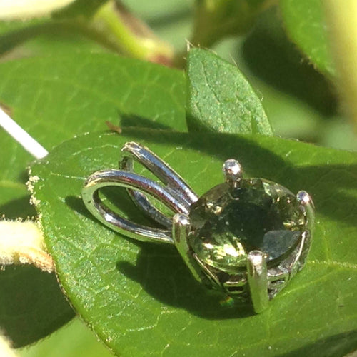 Faceted Moldavite Pendant Sterling Silver 6mm Gem-Moldavite Jewelry