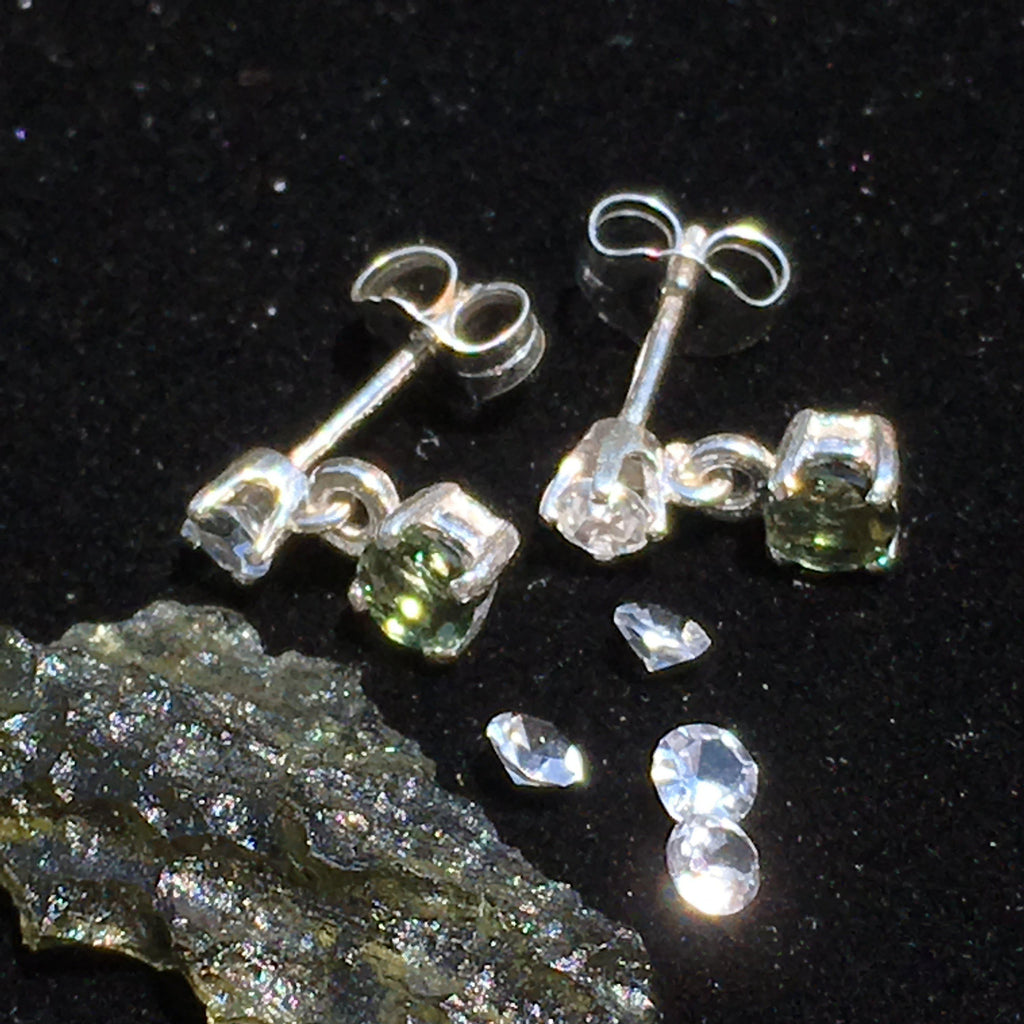 Faceted Moldavite & Phenacite Crystal Sterling Silver Stud Earrings-Moldavite Jewelry