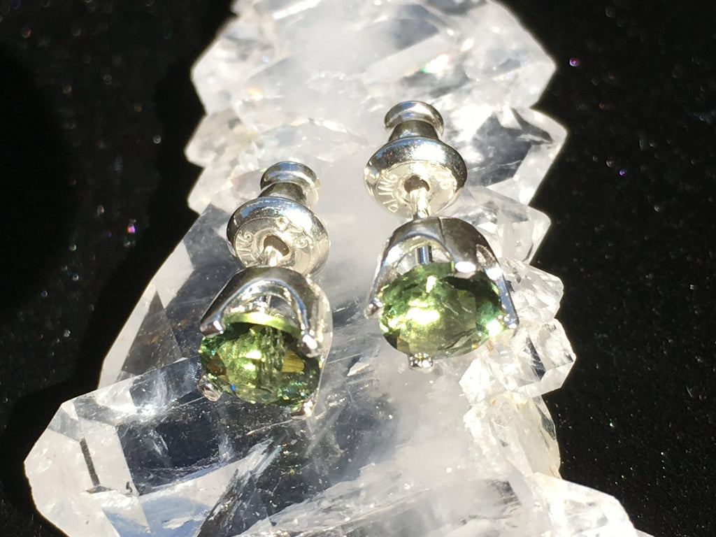 Faceted Moldavite Stud Earrings 5mm 4 Prong Sterling Silver-Moldavite Jewelry