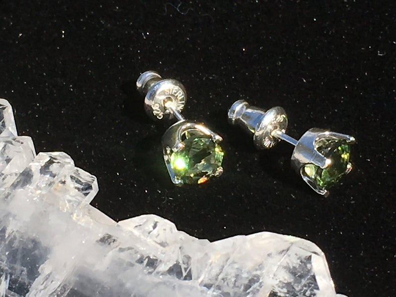 Faceted Moldavite Stud Earrings 5mm 4 Prong Sterling Silver