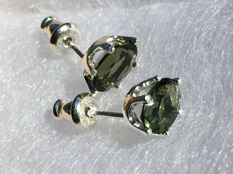 Faceted Moldavite Stud Earrings 7x5mm Sterling Silver-Moldavite Jewelry