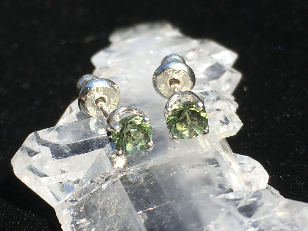 Faceted Moldavite Stud Earrings Sterling Silver 4mm 4 Prong-Moldavite Jewelry