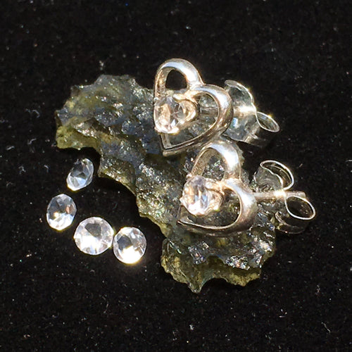Faceted Phenacite Sterling Silver Heart Stud Earrings 3mm-Moldavite Life