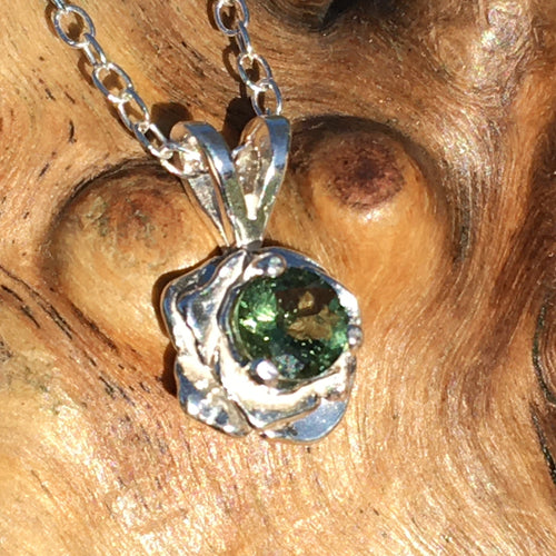 Moldavite Rose Pendant Necklace Small Sterling Silver-Moldavite Life