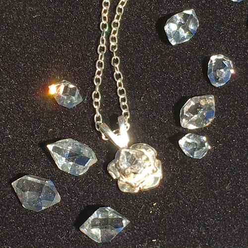 Herkimer Diamond Rose Crystal Pendant Silver Necklace-Moldavite Life