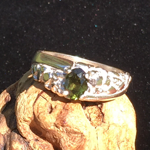 Mens Faceted Moldavite Ring Sterling Silver Swirl Nugget-Moldavite Life