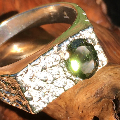 Men's Moldavite Ring Sterling Silver Nugget-Moldavite Life