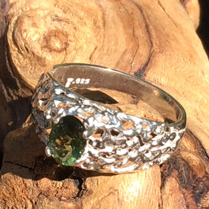 Mens Faceted Moldavite Ring Sterling Silver 5x7mm Nugget-Moldavite Jewelry