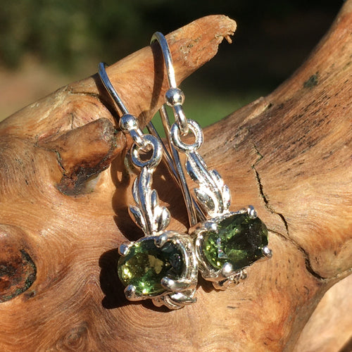 Moldavite Dangle Drop Earrings Sterling Silver-Moldavite Life