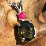 Moldavite Faceted Ruby Silver Necklace-Moldavite Life