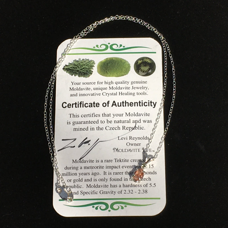 Moldavite Faceted Sunstone Silver Necklace Genuine Certified-Moldavite Life