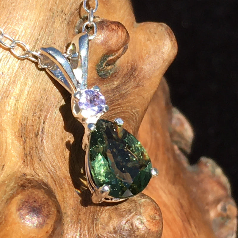 Moldavite Faceted Tanzanite Silver Necklace Genuine Certified-Moldavite Life