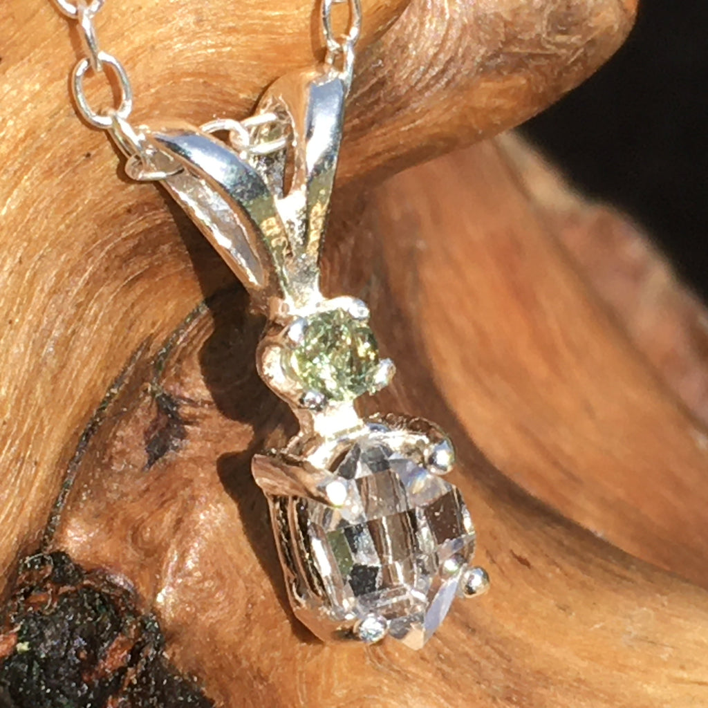 Moldavite Herkimer Diamond Silver Necklace Genuine Certified