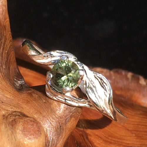 Moldavite Leaf Ring Sterling Silver Faceted 4mm Gem-Moldavite Life