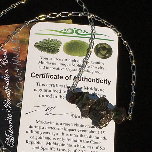 Moldavite Meteorite Beaded Necklace Silver Sterling-Moldavite Life