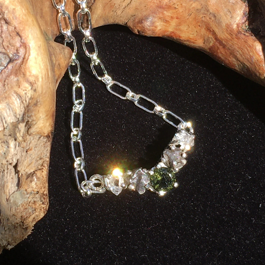 Moldavite Meteorite Herkimer Diamond Silver Necklace