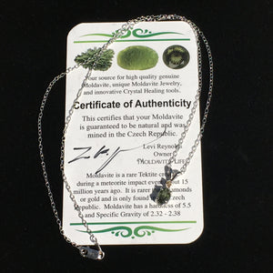 Moldavite & Natural Diamond Crystal Silver Pendant
