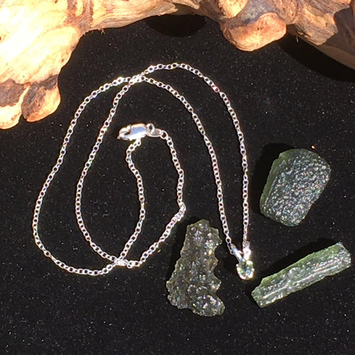 Moldavite Pendant 4mm Faceted Necklace Sterling Silver-Moldavite Life
