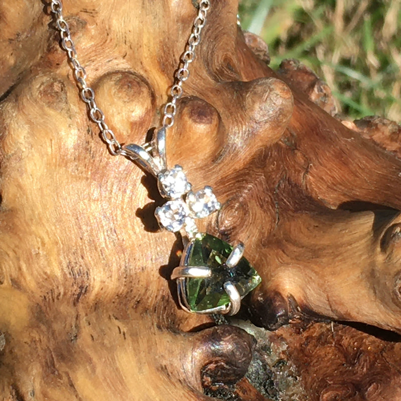 Moldavite Phenacite Crystal Sterling Silver Pendant Necklace