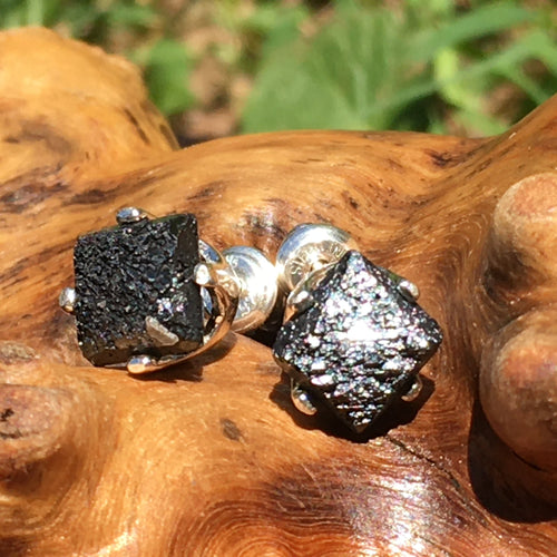 Rare Brookite Crystal Sterling Silver Earrings-Moldavite Life
