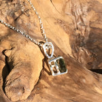 Silver Faceted Moldavite Pendant Trillion Cut Gem-Moldavite Jewelry
