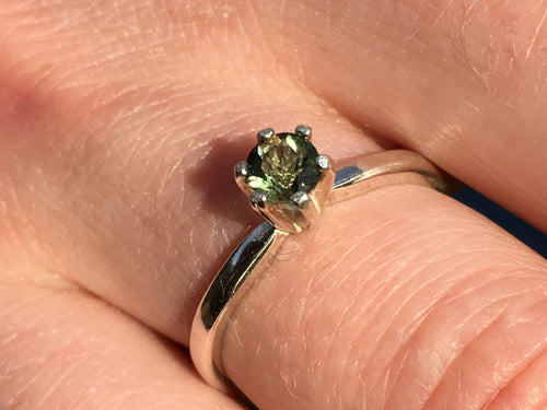 Sterling Silver Faceted Moldavite Engagement Ring 4mm-Moldavite Jewelry