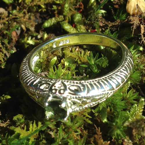 Antique Style Moldavite Ring 4mm Faceted Sterling Silver-Moldavite Life