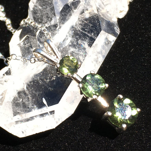 Triple Faceted Moldavite Gem Pendant Necklace Sterling Silver-Moldavite Life
