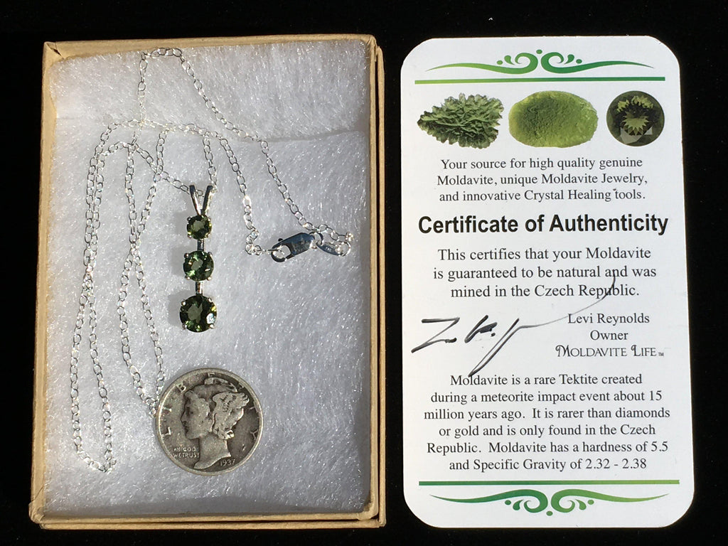 Triple Faceted Moldavite Gem Pendant Necklace Sterling Silver-Moldavite Jewelry