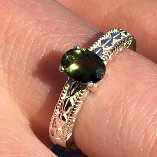 Womens Faceted Moldavite Ring Sterling Silver 5x7mm-Moldavite Jewelry