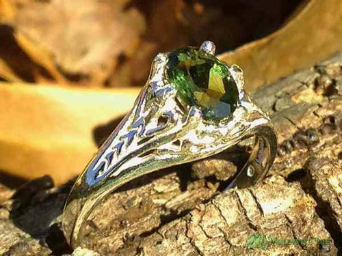 Womens Moldavite Sterling Silver Ring Filigree Faceted-Moldavite Life