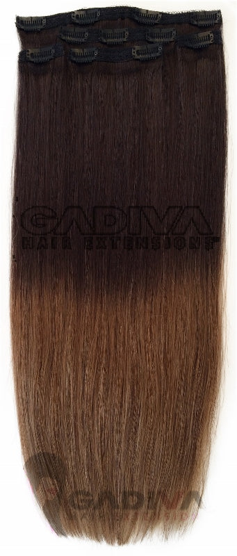 CLIP IN BALAYAGE# 1B-8-Clip in hair extensions - GadivaHairExtensions