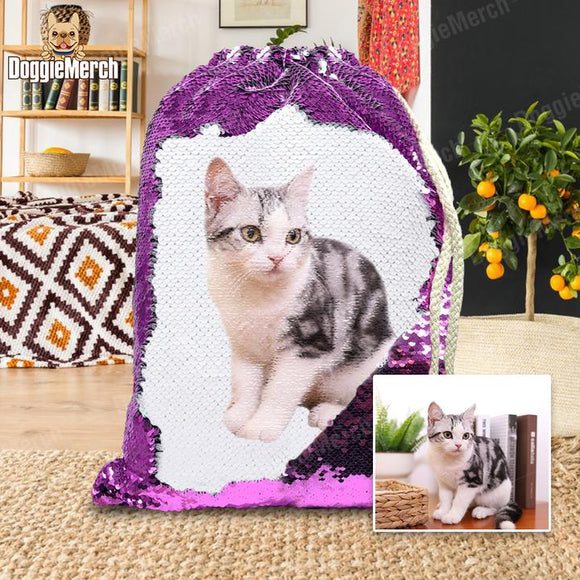 Custom Sequins Backpack of Your Pet's Photo - Beauty's Secrets