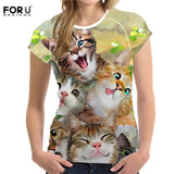 FORUDESIGNS Funny 3D Middle Finger Cat Printed T Shirt Women O-Neck Short Sleeve Tops Tee Shirt Fashion Elastic T-shirt Feminina - Beauty's Secrets