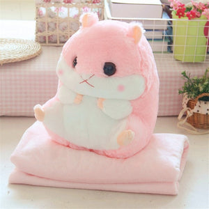 Cute Pillow Blanket Hamster Home Decoration Bedding Coral Velvet Office Cushion Birthday Gift Cute Filled Pillow Blanket - Beauty's Secrets