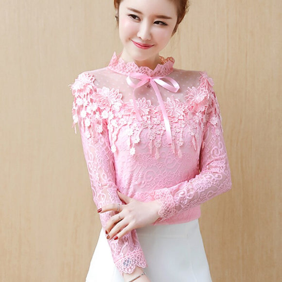 2019 Spring Sweet Lovely Long Sleeve Hollow Out Lace Pink Lace Blouses Women 3d Flower Embroidery Lace Shirts Lady Sexy Tops - Beauty's Secrets