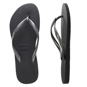 Havaianas Slim Metallic Grey Thongs