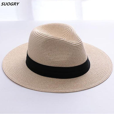 2472f1b1888dbb SUOGRY Brand Straw Hats For Women Panama Hat Beige White Mens Beach Casual  Wide Brimmed Summer