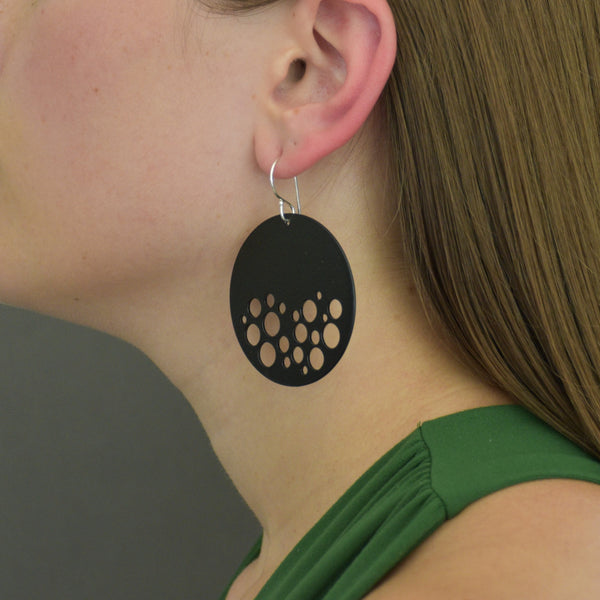 Dot Disc Earrings - Medium, Matte Black