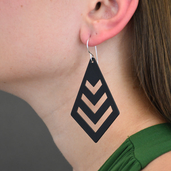 Chevron Earrings - Matte Black