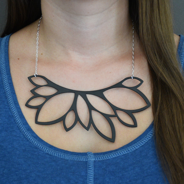 Leaf Bib Necklace - Matte Black