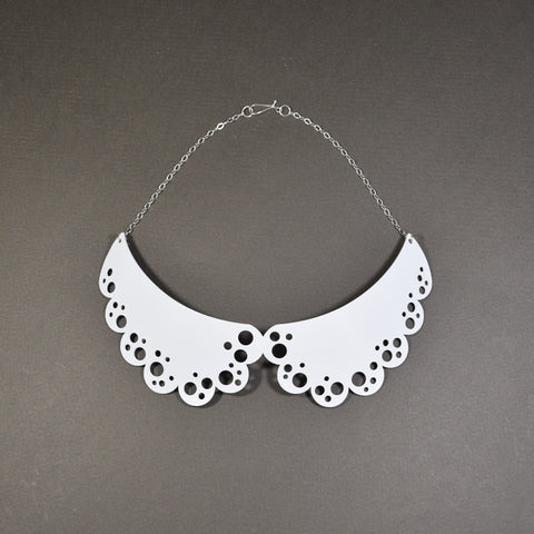 Peter Pan Collar Necklace - Matte White